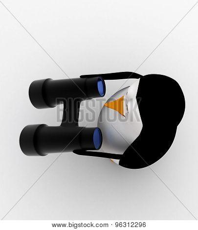 3D Penguin With Big Binocular Concept