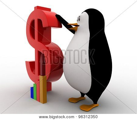 3D Penguin With Red Dollar Symbol And Growth Of Graph Concept