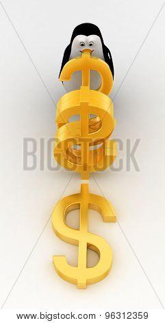 3D Penguin With Golden Dollar Symbol Concept