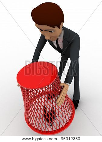 3D Man Catching Flying Bug With Dustbin Net Concept