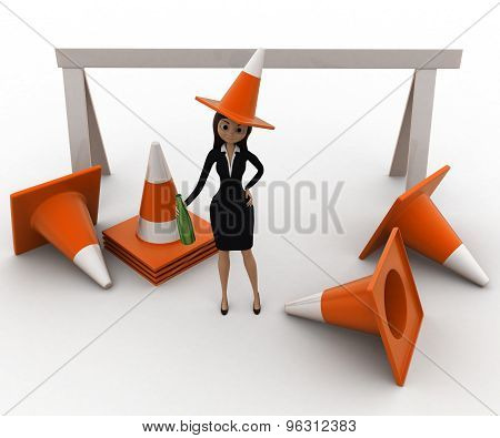 3D Woman Wear Traffic Cone As Hat And With Many Traffic Cone Concept