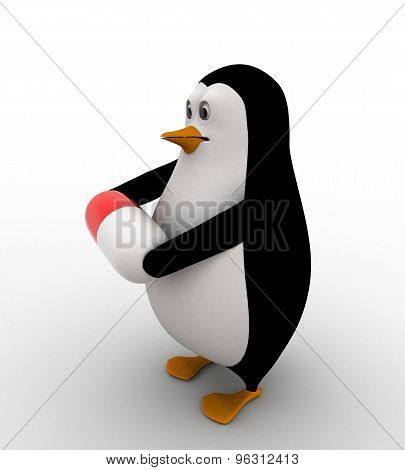 3D Penguin Holding Red Capsule In Hand Concept