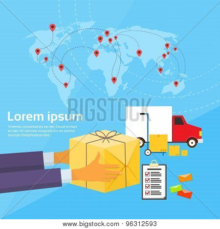 Delivery Service Package Box World Map Flat Vector