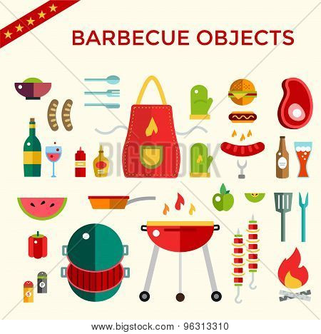 Barbecue and Food Icons Vector Objects set. Outdoor, Kitchen or Meat symbols. Stock design elements.