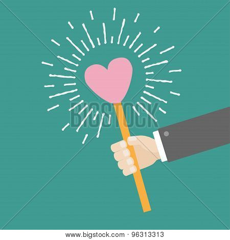Businessman Hand Holding Paper Heart On The Stick Shining Effect Dash Line Circle Flat Design