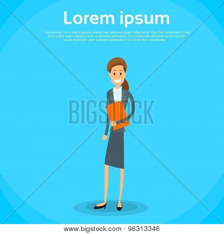 Businesswoman Document Full Length Flat Icon Vector