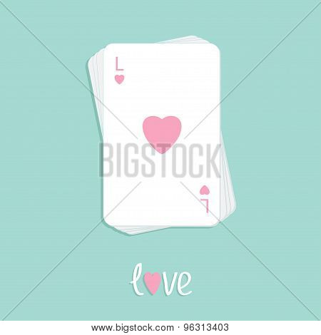 Stack Of Poker Playing Card With Heart Sign Love Background Flat Design