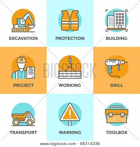 Construction Site Line Icons Set