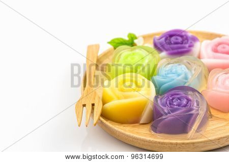 Colorful Of Thai Jelly Dessert, Roses Shaped .