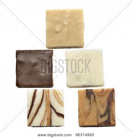 Pieces Of Chocolate Fudge Isolated On White Background