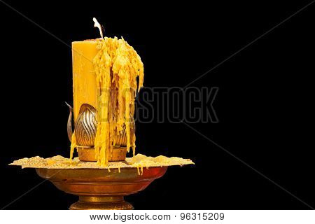 Burning Of Candle On Candlestick
