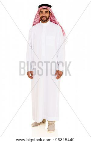 smiling young arabian man isolated on white background