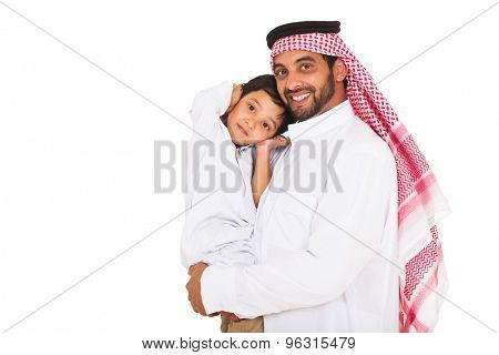portrait of young muslim man holding his son