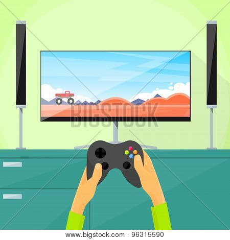Gamer Play Video Game Tv Screen Hold Pad Controller Flat