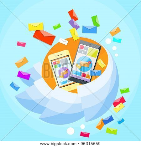 Cell Smart Phone Envelope Send Business Mail