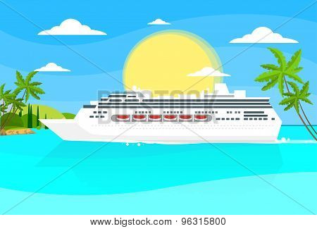 Cruise Ship Liner Tropical Island Summer Ocean Vaction