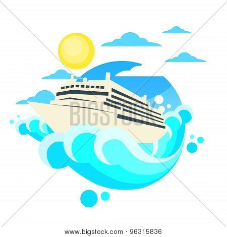 Cruise Ship Liner Summer Ocean Vaction Circle Logo Flat