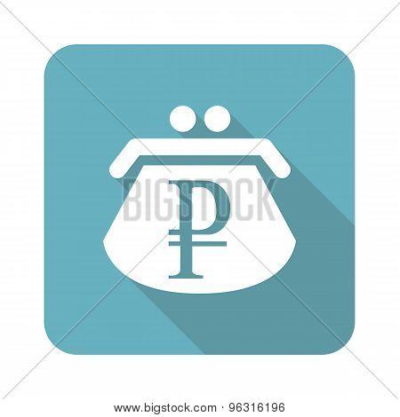Square ruble purse icon