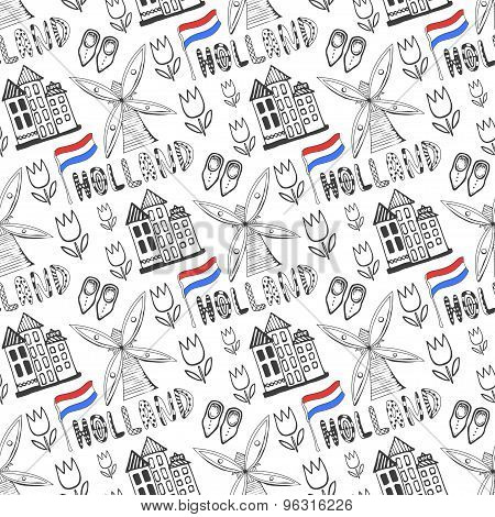 Hand Drawn Seamless Pattern With Holland Culture Elements. Netherlands Background For Design. Vector