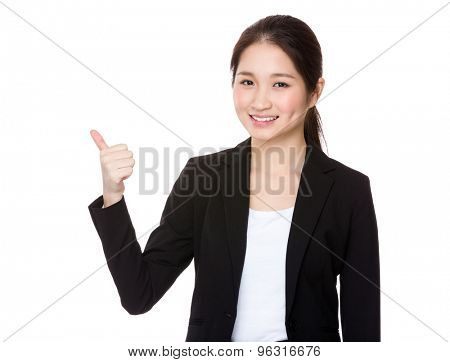 Young Businesswoman show with thumb up