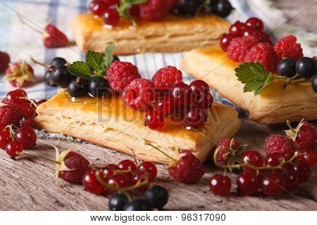 Homemade Cakes With Raspberries, Currants, Honey And Mint