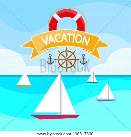 Sail Yacht Boat Sea, Sailing Ocean Vacation Logo, Marine Trip