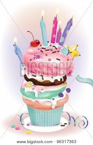 Birthday Dessert with candles