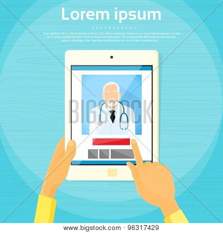 Medical Doctor Tablet Computer Application Flat