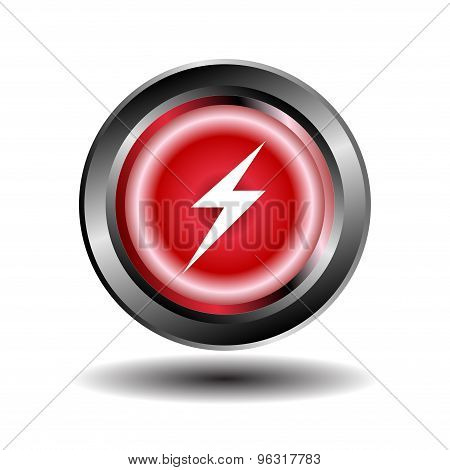 Electricity icon glossy red button