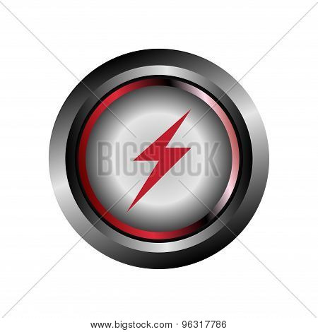 Electricity sign. Electricity icon glossy red button