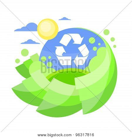 Recycle Sign Green Tree Flat Eco Icon Blue Sky Circle Banner