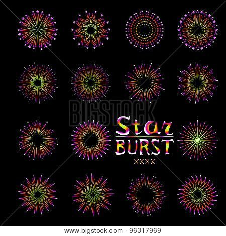 Party Holiday Event Firework Icon Flat Set Isolated Vector Illustration