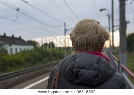 Woman Waiting Train