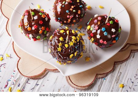 Apples In Chocolate With Candy Sprinkles Horizontal Top View