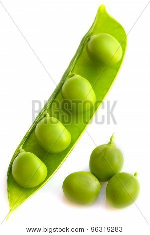 Pea Pod On A White Background. Isolated On White