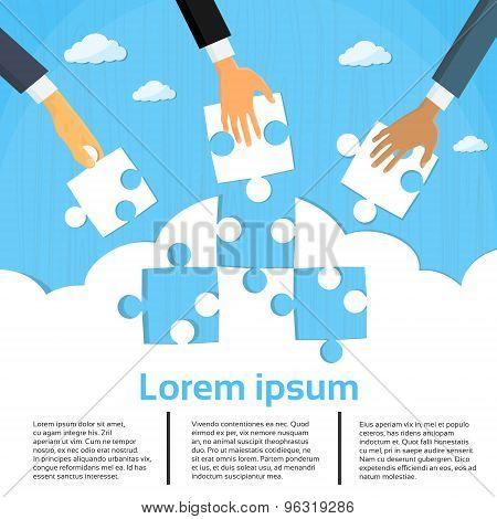 Businessmen Hands Putting Puzzle Pieces Teamwork