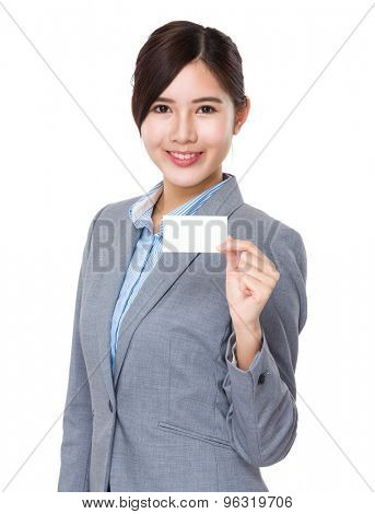 Young asian businesswoman hold with namecard