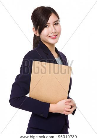 Asian businesswoman hold with clipboard