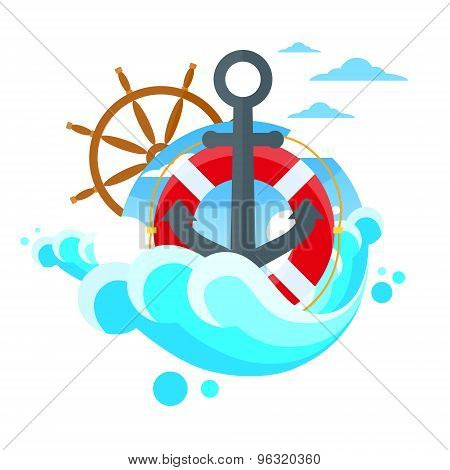 Anchor Steering Wheel Sea Blue Flat Vector