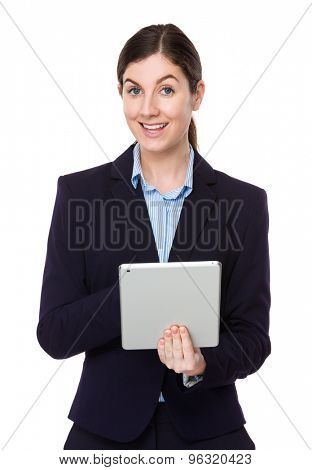Caucasian businesswoman use of the tablet pc