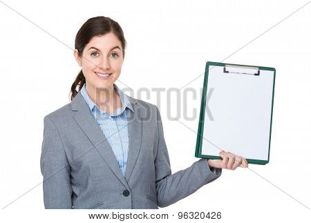 Businesswoman show with clipboard