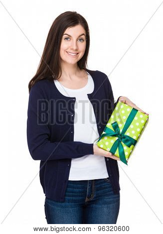 Woman show with giftbox