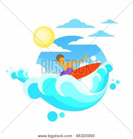 Surfer Man Surfing Sea Wave on Board Summer Ocean