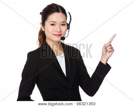Customer services operator with finger point up