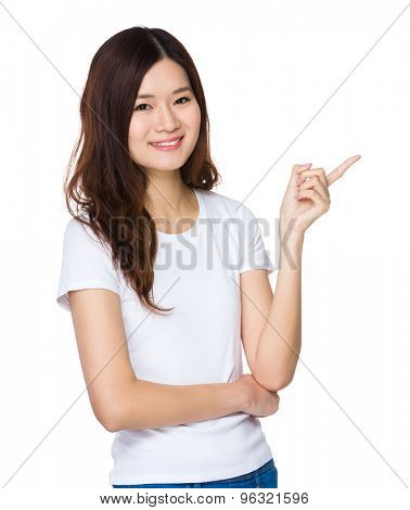 Woman with finger point out