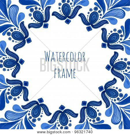 Blue Traditional Floral Frame In Russian Gzhel Style Or Holland Style. Vecor Template With Watercolo