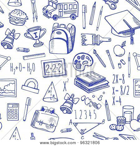 School Tools Sketch Icons Seamless Vector Pattern.
