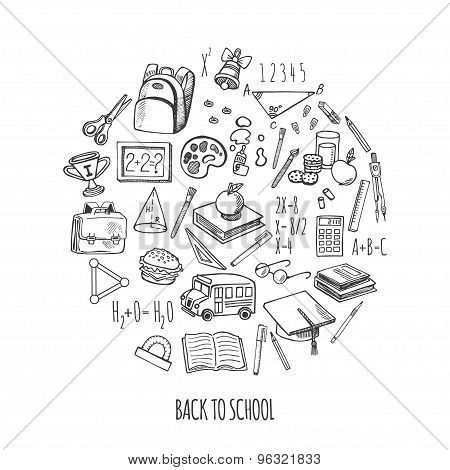 Back To School Tools Sketch Icons Isolation In A Circle Vector Design Illustration.