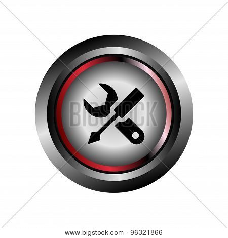 Glossy button wrench icon vector