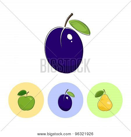 Fruit Icons, Plum, Apple,  Pear